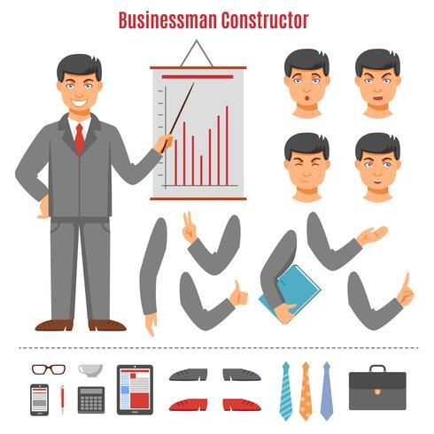 Set di costruttore di uomo d'affari vettore