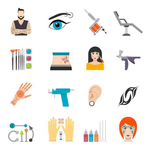 Set di icone con piercing tatuaggio bodyart e attrezzature speciali vettore