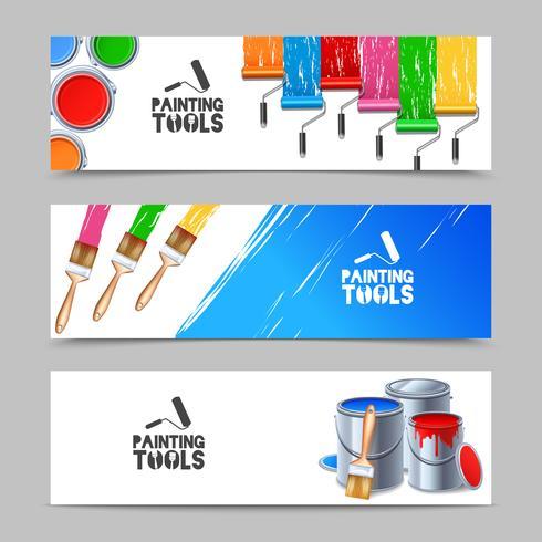 Set di banner di strumenti di pittura vettore