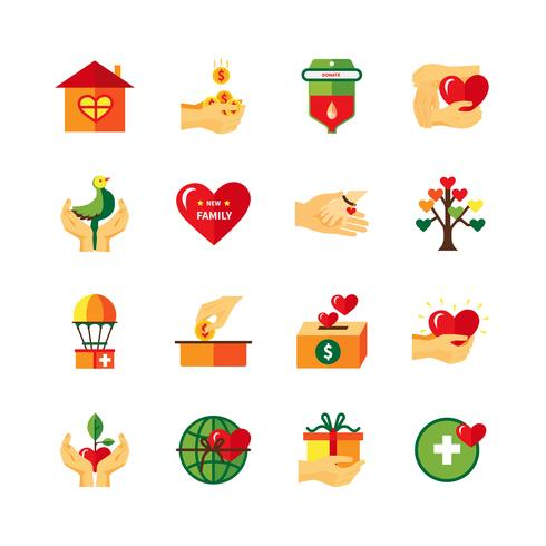 Set di icone piane di simboli di carità vettore