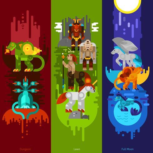 Banner di creature mitiche verticali vettore
