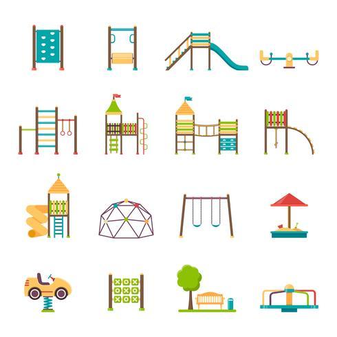 Set di icone piane del parco giochi vettore