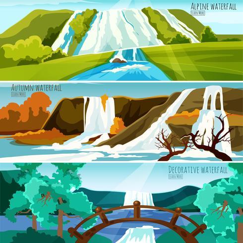 Bandiere di paesaggi cascata vettore