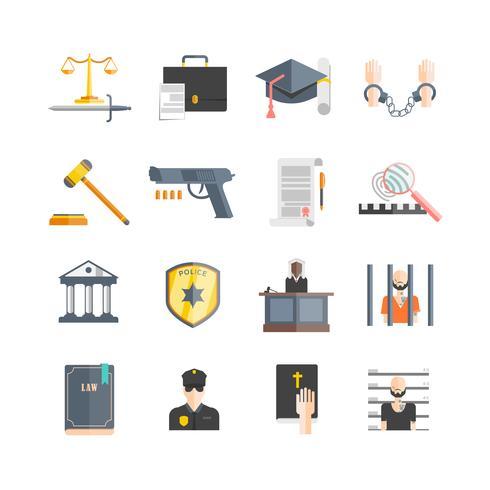 Set di icone di giustizia vettore