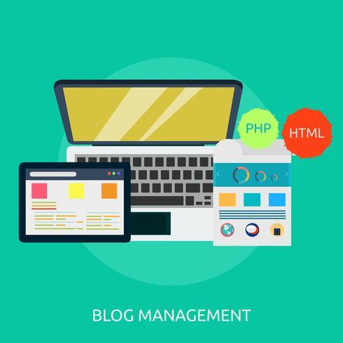 Progettazione dell'illustrazione concettuale della gestione del blog vettore