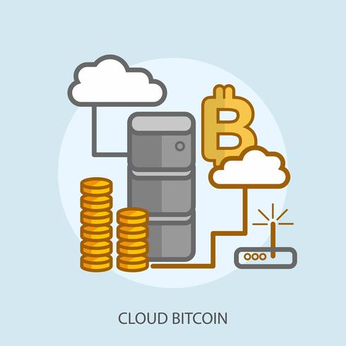 Disegno concettuale dell'illustrazione di Bitcoin della nuvola vettore