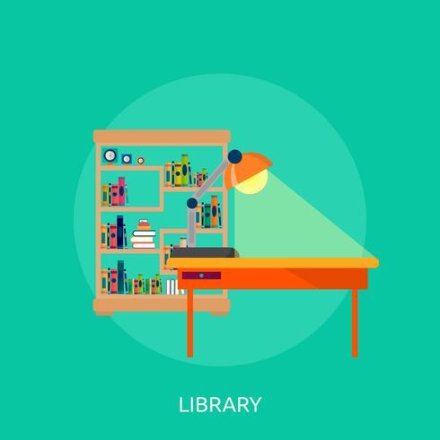 Progettazione dell'illustrazione concettuale della biblioteca vettore
