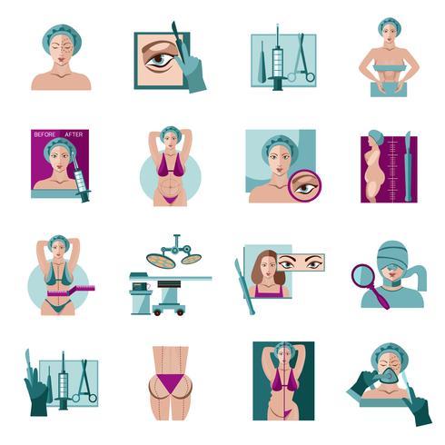 Set di icone piane di chirurgia plastica vettore