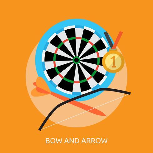 Disegno dell'illustrazione concettuale dell'arco e della freccia vettore