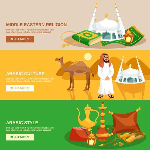 Set di banner cultura araba vettore