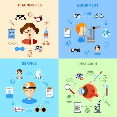 Set di icone di oftalmologia e vista vettore