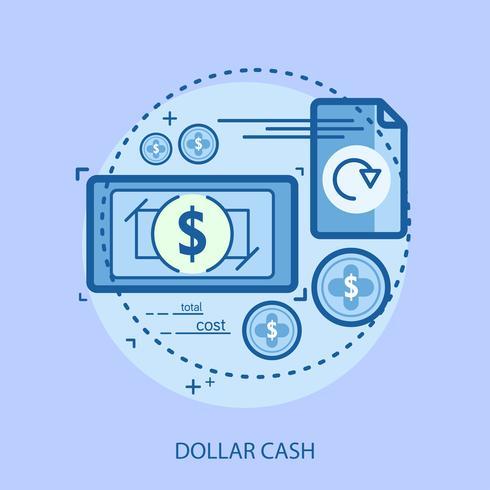 Progettazione concettuale dell'illustrazione dei contanti del dollaro vettore