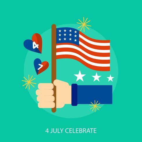 4 luglio celebrano la progettazione dell'illustrazione concettuale vettore