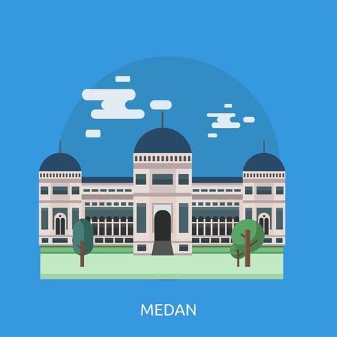Disegno dell'illustrazione concettuale di Medan vettore
