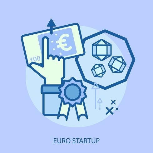 Euro progettazione concettuale dell'illustrazione Startup vettore