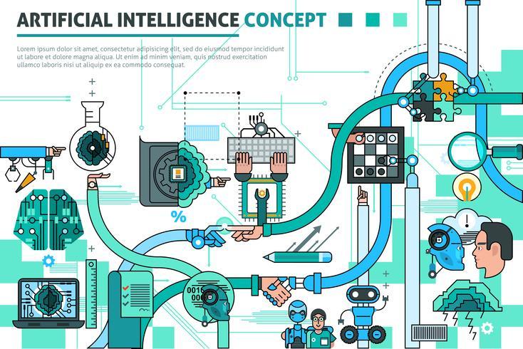 Composizione del concetto di intelligenza artificiale vettore