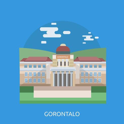 Progettazione concettuale dell'illustrazione di Gorontalo City di Indonesia vettore
