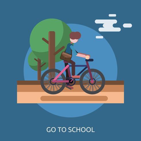 Vai a scuola Design illustrazione concettuale vettore