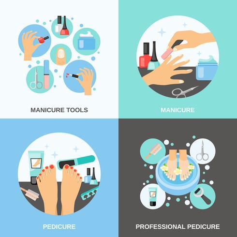 manicure pedicure 4 icone piane quadrate vettore