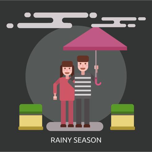 Progettazione concettuale dell'illustrazione di stagione piovosa vettore