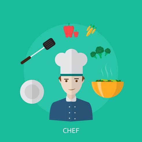 Progettazione concettuale dell'illustrazione del cuoco unico vettore