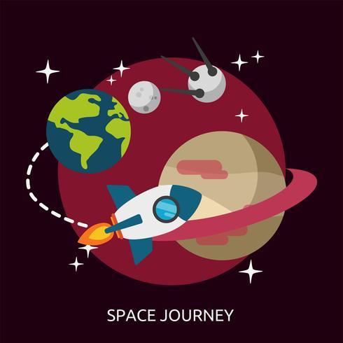 Progettazione dell'illustrazione concettuale di viaggio dello spazio vettore