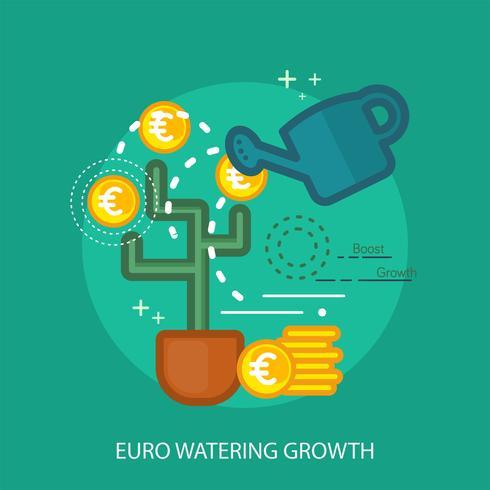Progettazione concettuale dell'illustrazione di crescita d'innaffiatura dell'euro vettore