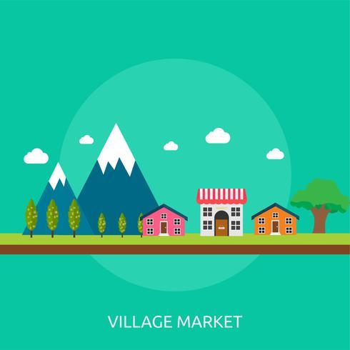 Progettazione concettuale dell'illustrazione del mercato del villaggio vettore