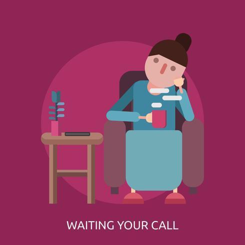 Aspettando la vostra illustrazione concettuale dell'illustrazione di chiamata vettore