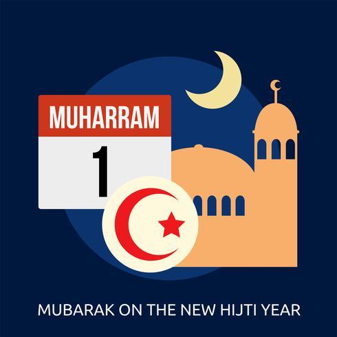 Mubarak sull'illustrazione concettuale dell'illustrazione di nuovo anno di Hijti vettore
