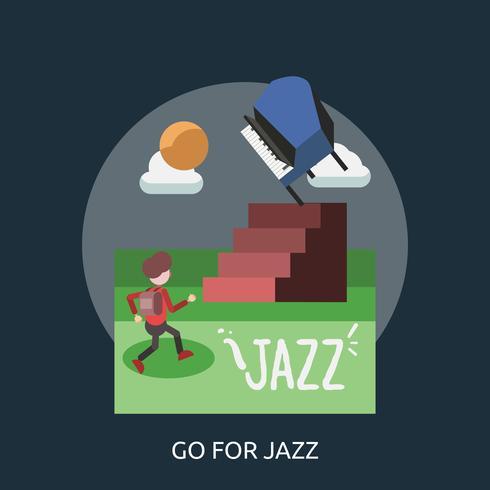Go For Jazz Design illustrazione concettuale vettore