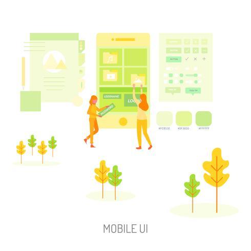 Disegno dell'illustrazione concettuale Ui mobile vettore
