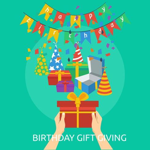 Progettazione dell'illustrazione concettuale del regalo di compleanno Gving vettore