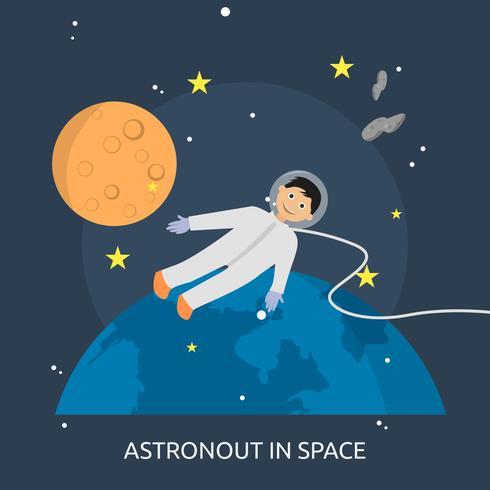 Progettazione dell'illustrazione concettuale di Astronout nello spazio vettore