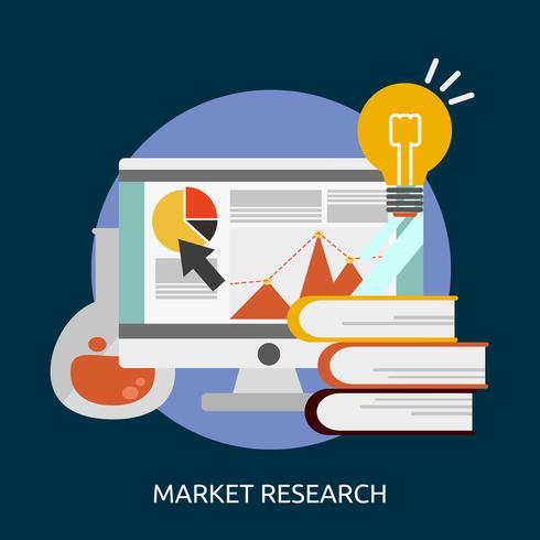 Progettazione dell'illustrazione concettuale di ricerca di mercato vettore