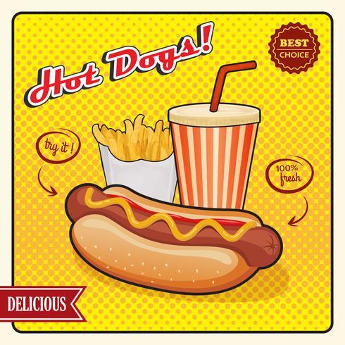 Hot Dogs Poster di stile comico vettore