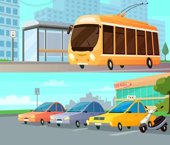composizioni per cartoni animati da trasporto urbano vettore