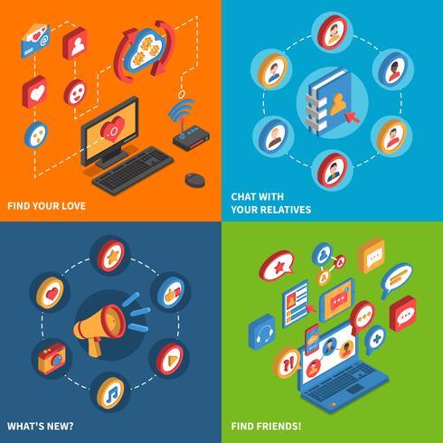Set di icone isometriche di rete sociale vettore