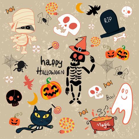 insieme felice del fumetto di clipart di Halloween vettore