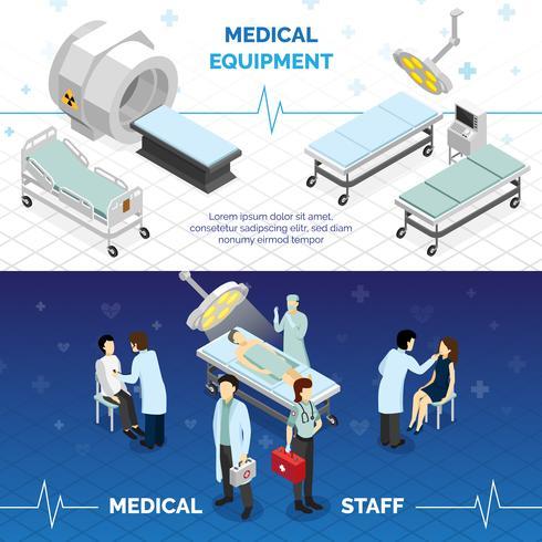 Striscioni orizzontali di attrezzature mediche e personale medico vettore