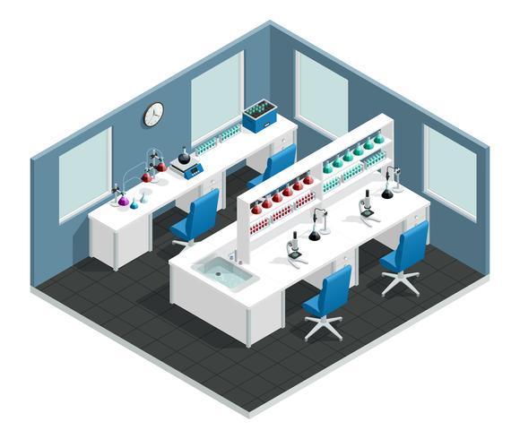 Interno isometrico del laboratorio scientifico vettore