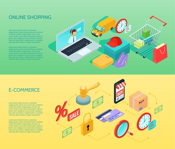 Shopping Ecommerce Banner orizzontale isometrica vettore