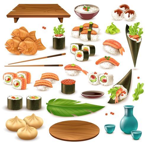 Set di cibo giapponese vettore