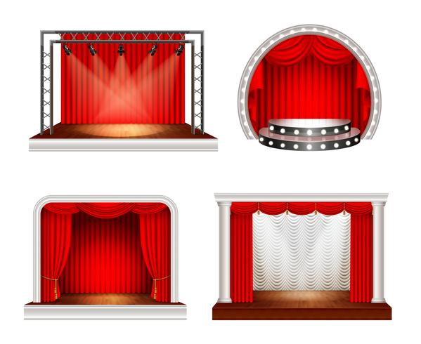 Set di scenografie realistiche vettore