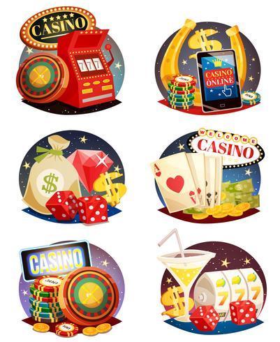 Set composizioni decorative di casinò vettore