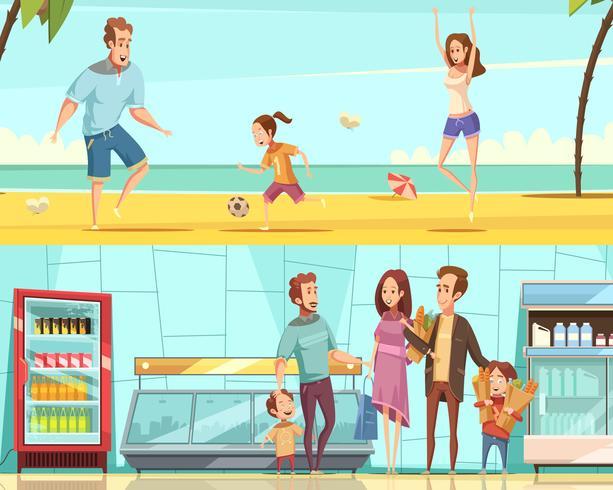 Famiglia orizzontale Cartoon Banners vettore