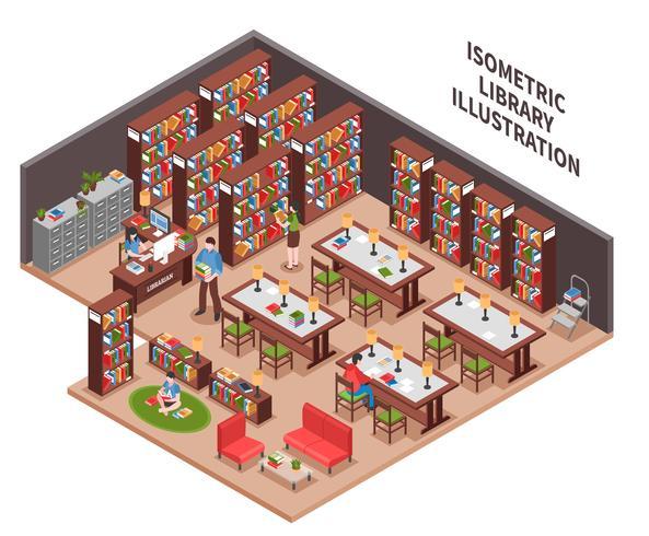Illustrazione isometrica di biblioteca vettore