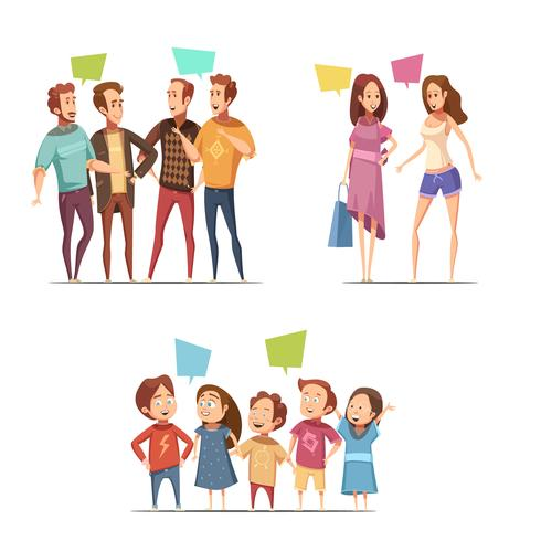 Famiglia retrò Cartoon Set vettore