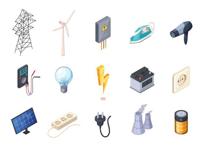 Set di icone isometriche di elettricità vettore