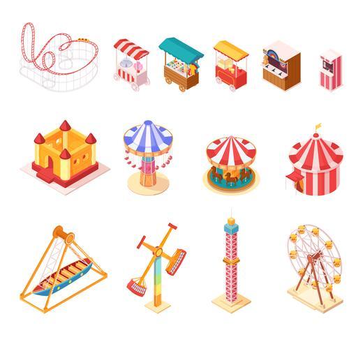 Icone isometriche del fumetto del parco di divertimenti messe vettore